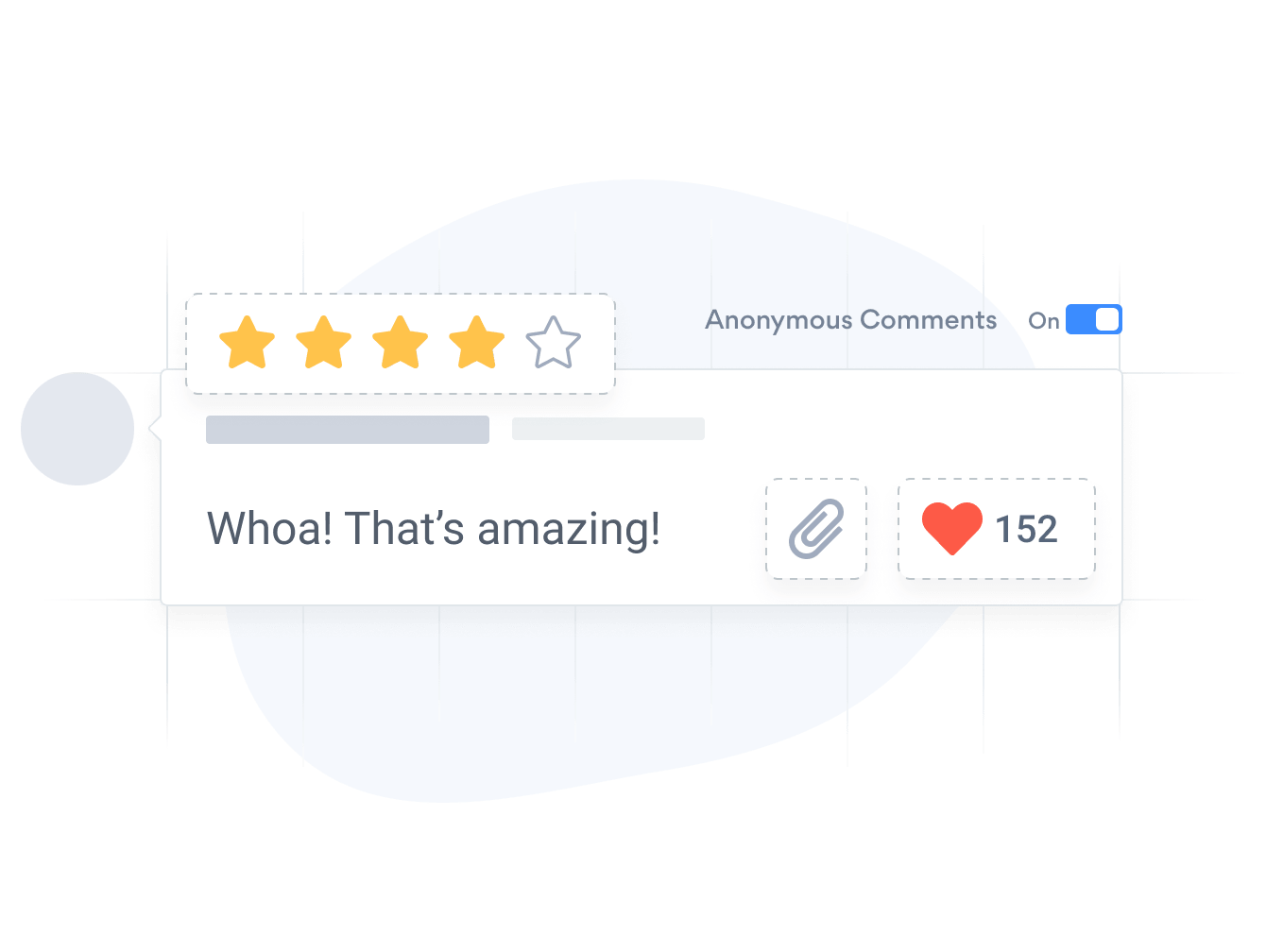 Comments app with star ratings, image uploads and upvoting or likes.