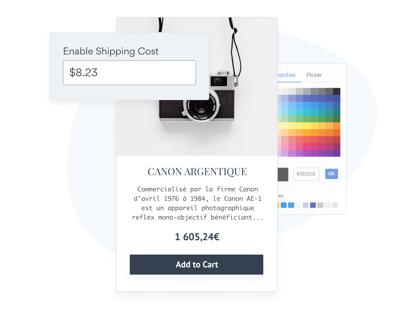 POWR eCommerce app with shipping and tax costs added and custom colors.