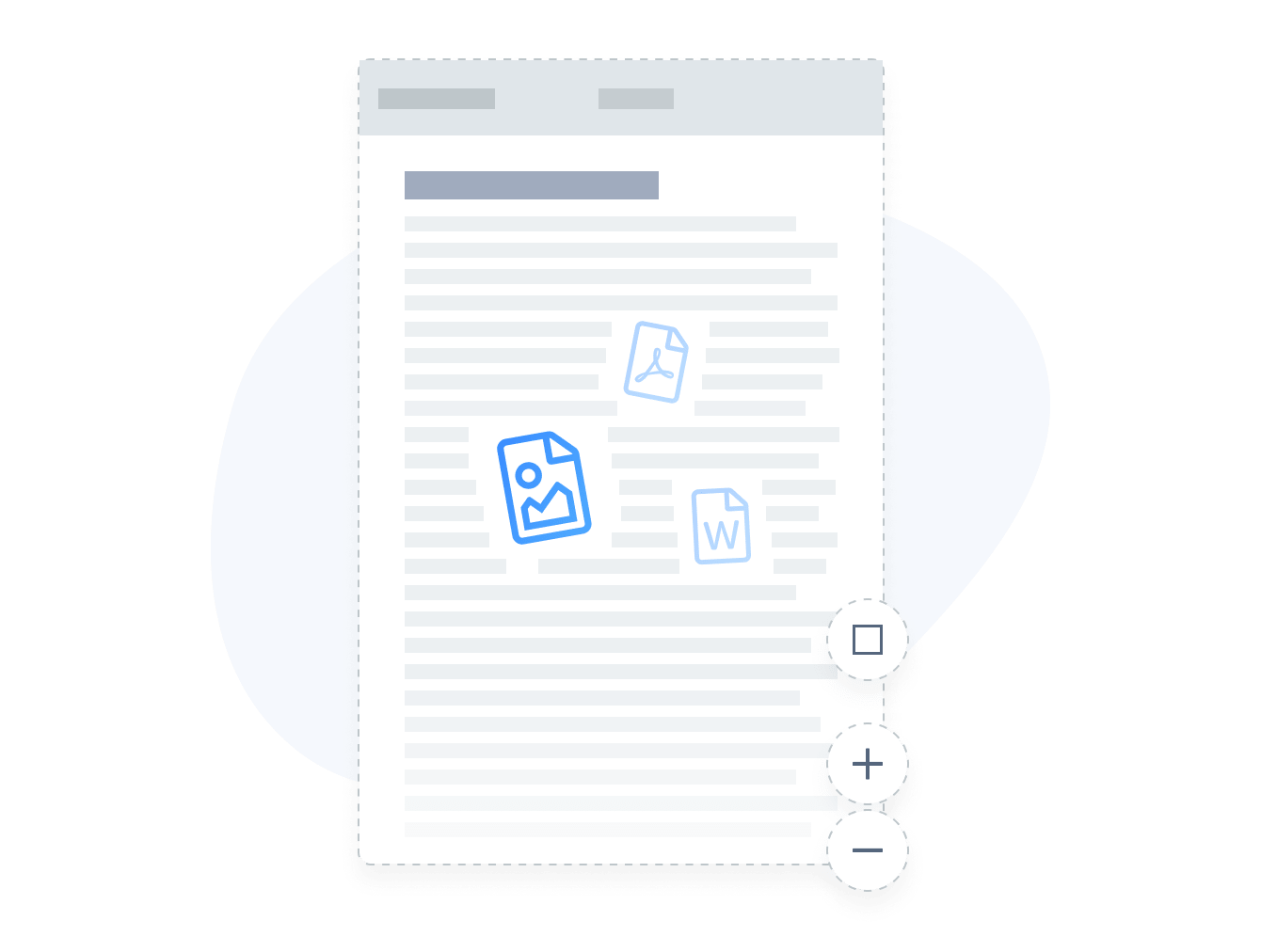 Embed file types such as PDFs, Word Docs, jpeg and png.