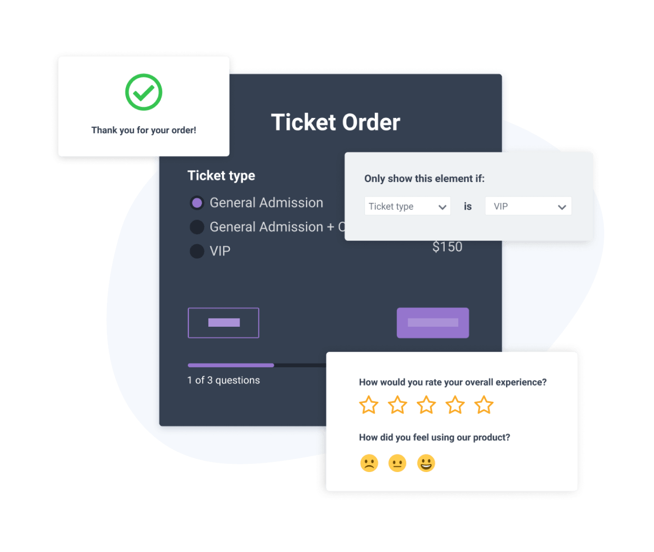 Order Form created with POWR Form Builder that includes conditional logic and a post-submission thank you message.