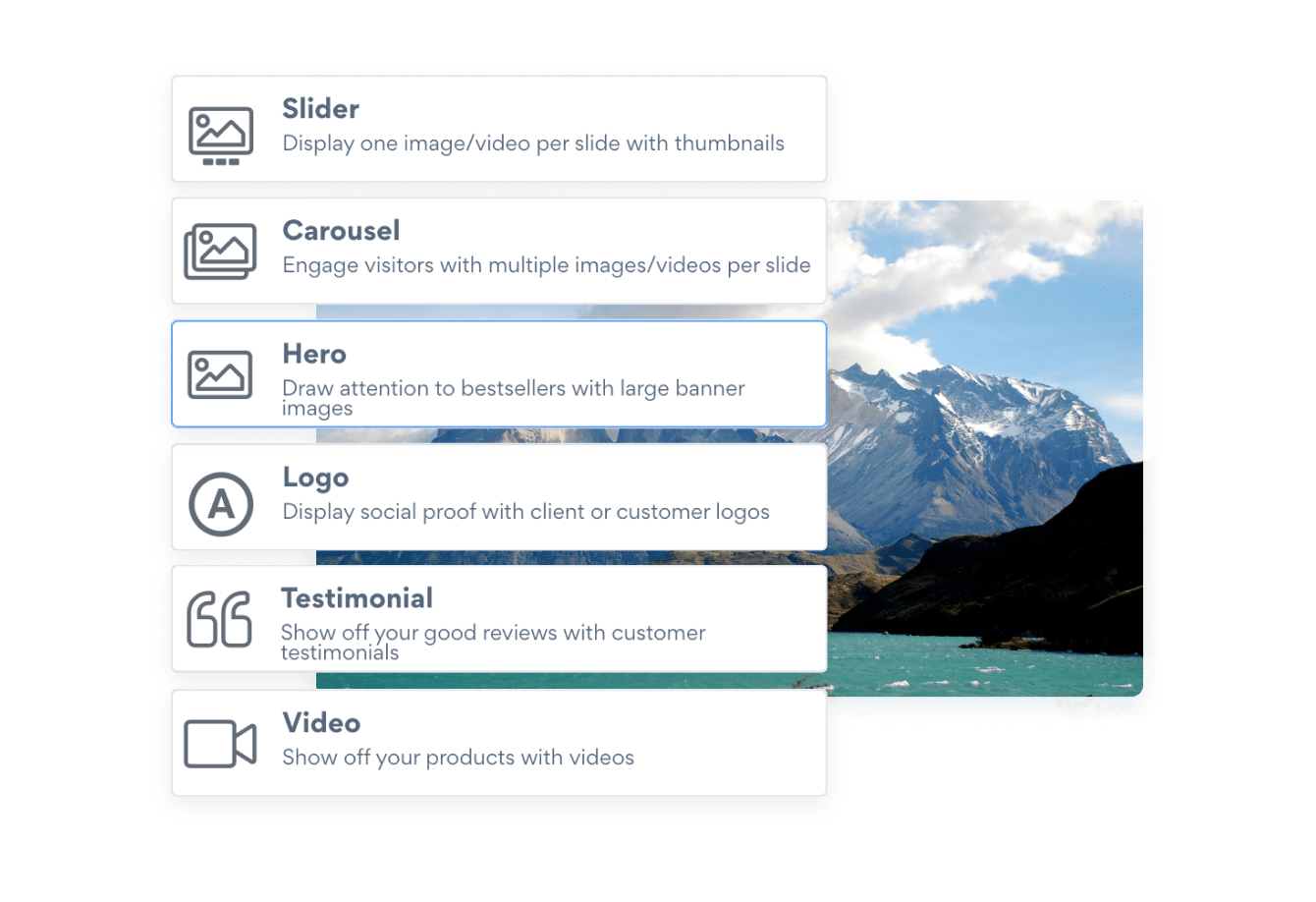 Slider templates include a carousel slideshow, hero image slider, testimonial slider and video slideshow.