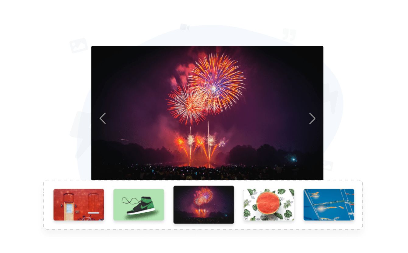 Photo slider with custom images and thumbnails