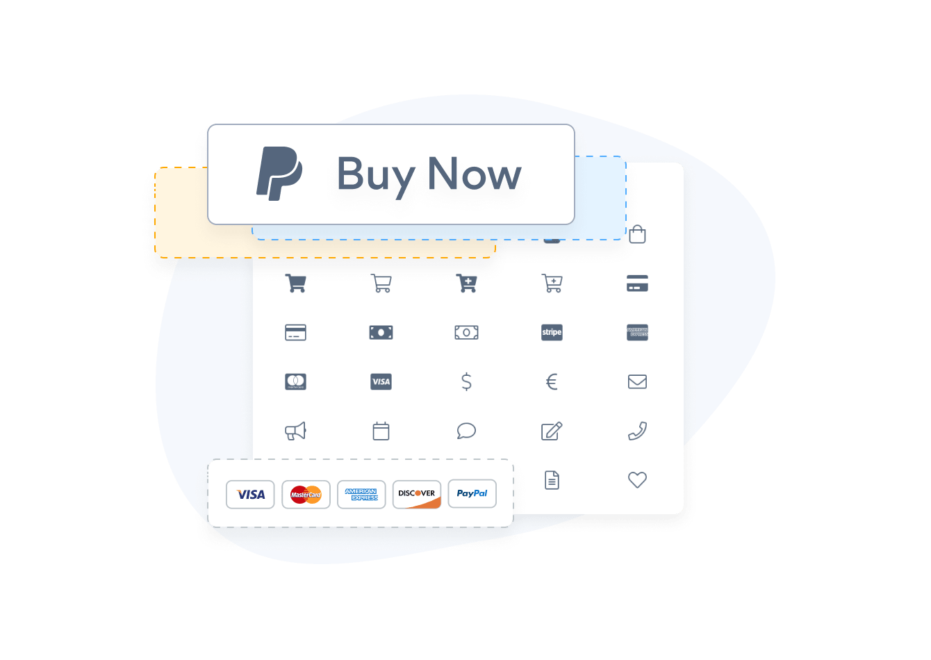 Custom PayPal Button with different icons, button text and credit card images.