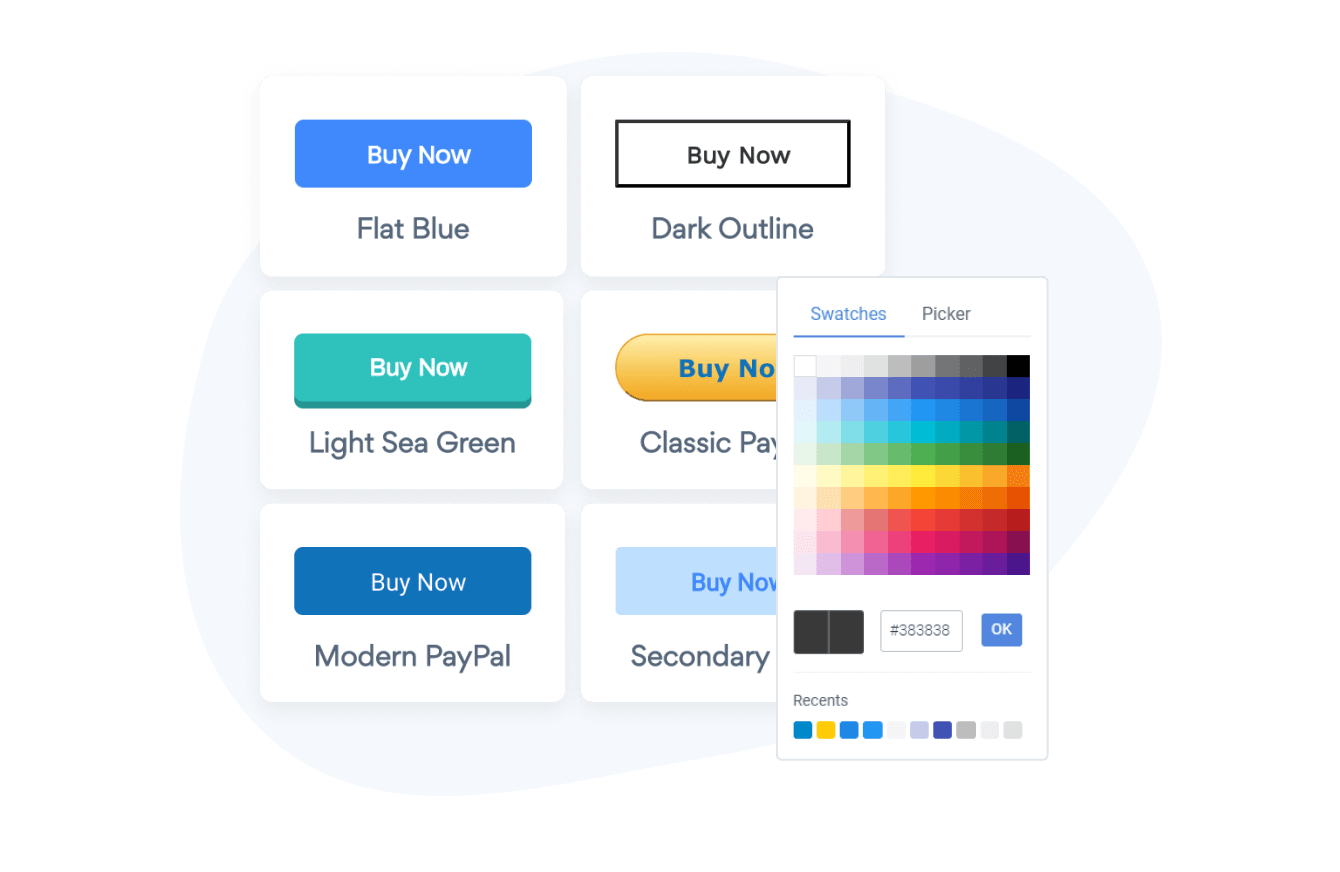 PayPal Button templates with different colors and button shapes.