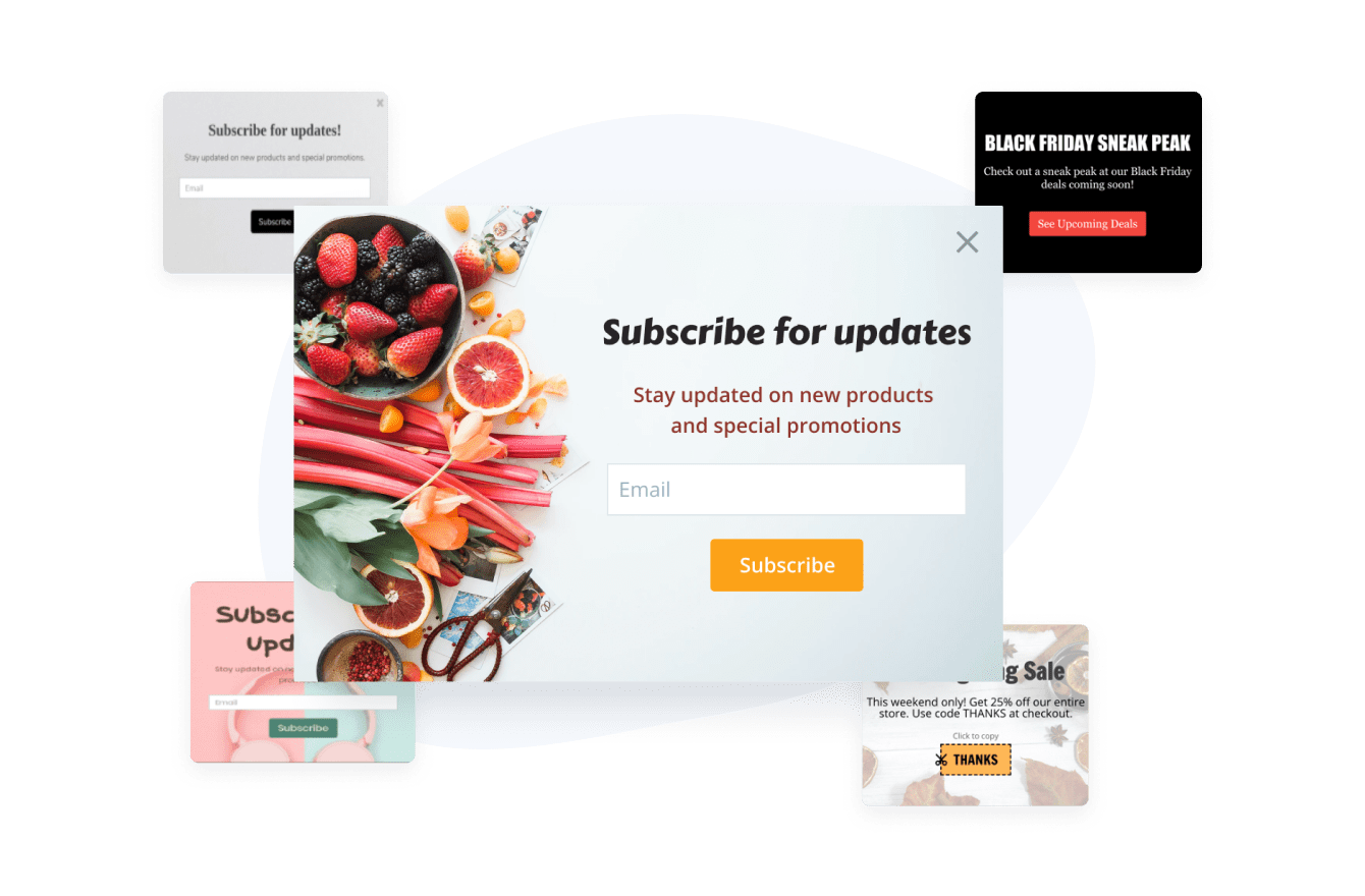 Popup templates for email sign up popup, subscribe for updates popup and a coupon popup.