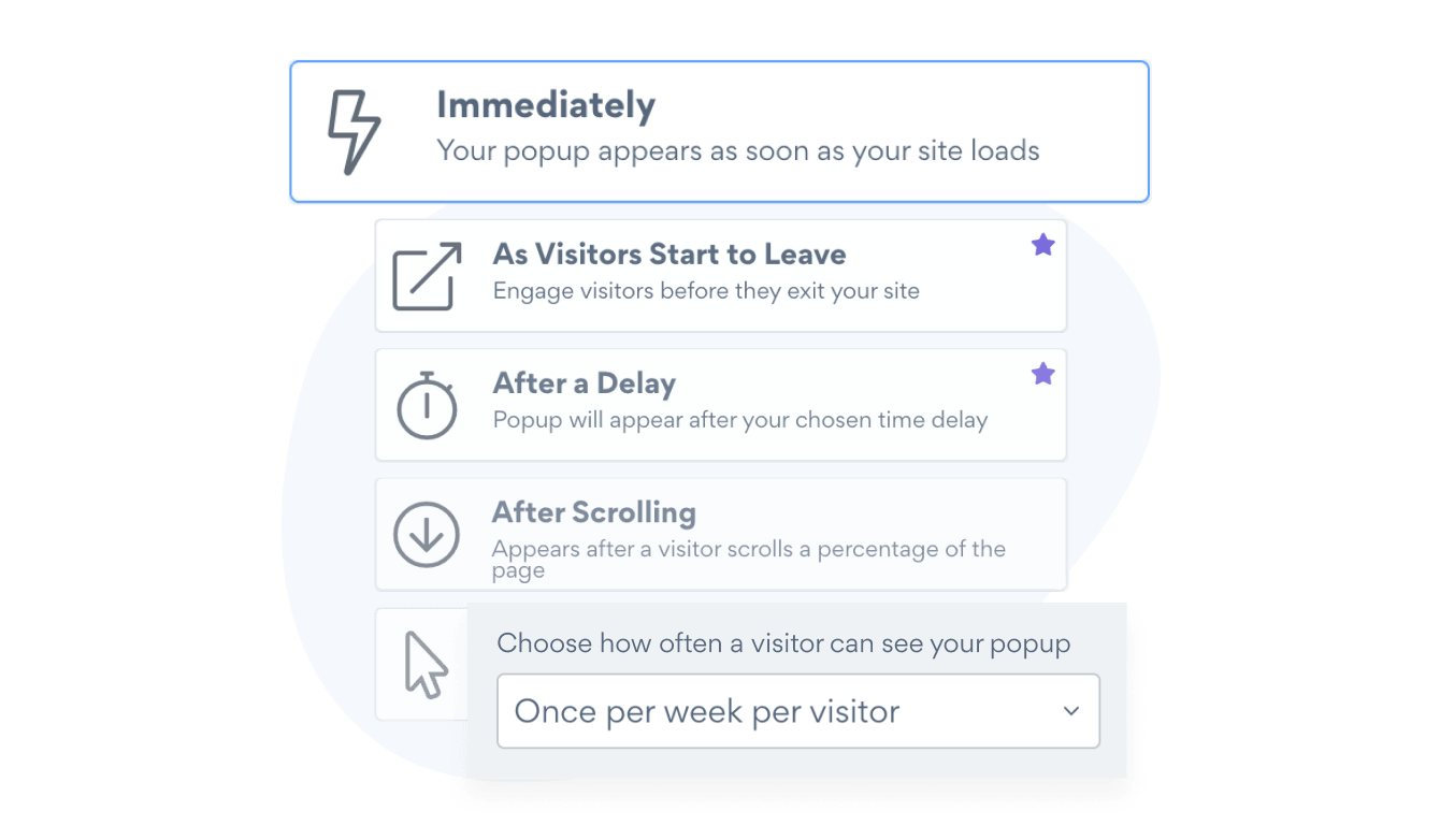 Popup trigger controls for on-click popups, exit intent popups, and more, with POWR Popup.