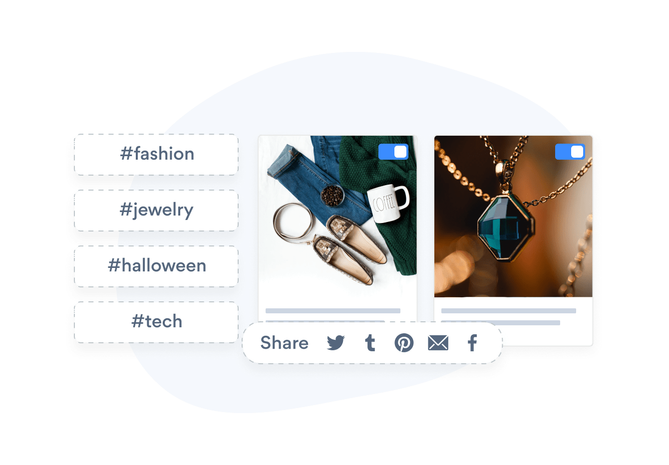Social Feed by POWR that uses hashtags to find images and that has social sharing buttons.