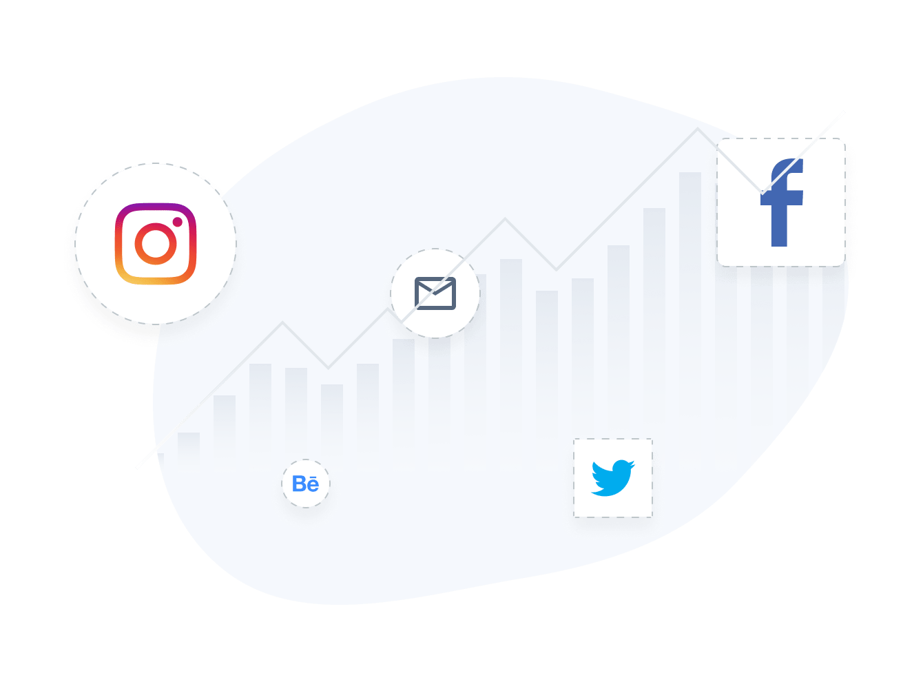 Social media growth chart with Social Media Icons by POWR.