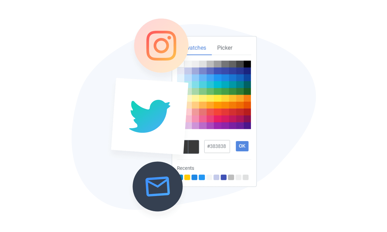 Social media icons with different colors, borders and background colors.