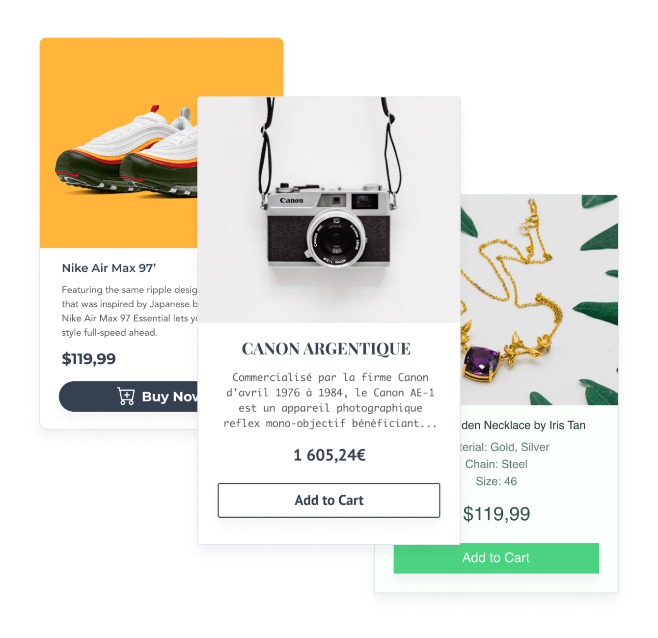 Product images with product information and an add to cart button created with POWR eCommerce.
