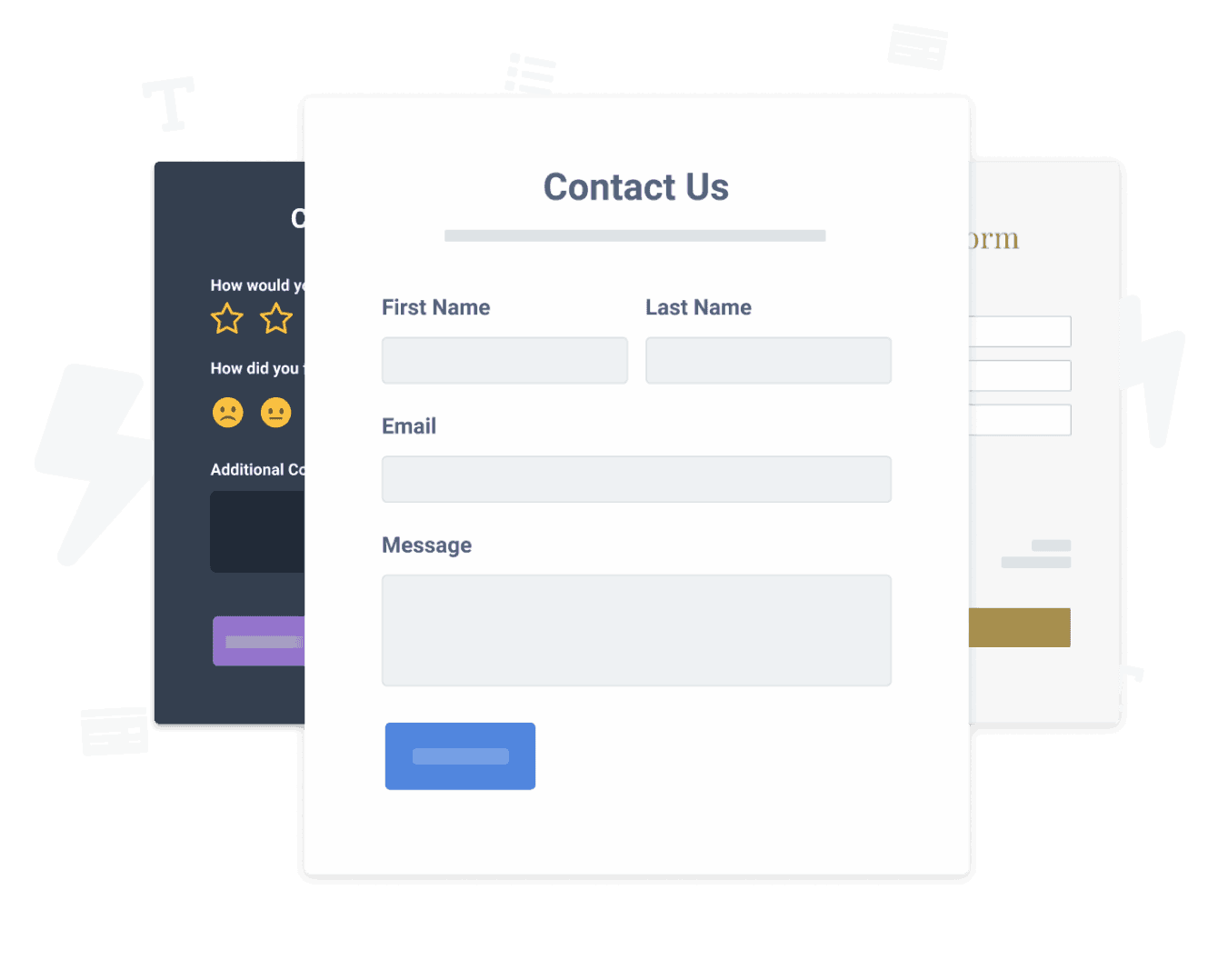 Contact Form, a Feedback Form and a Registration Form created using POWR Form Builder.
